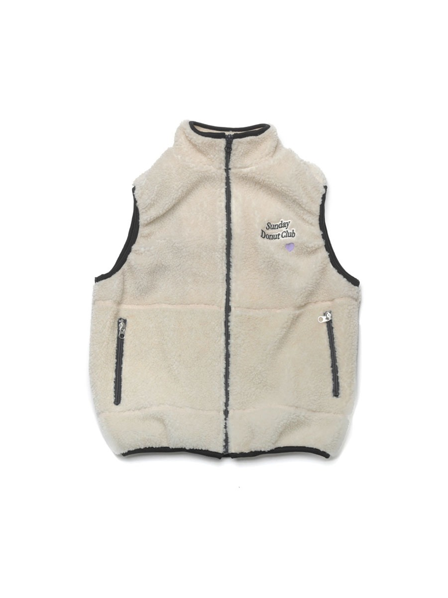 HEART LOGO BOA FLEECE VEST [Cream]