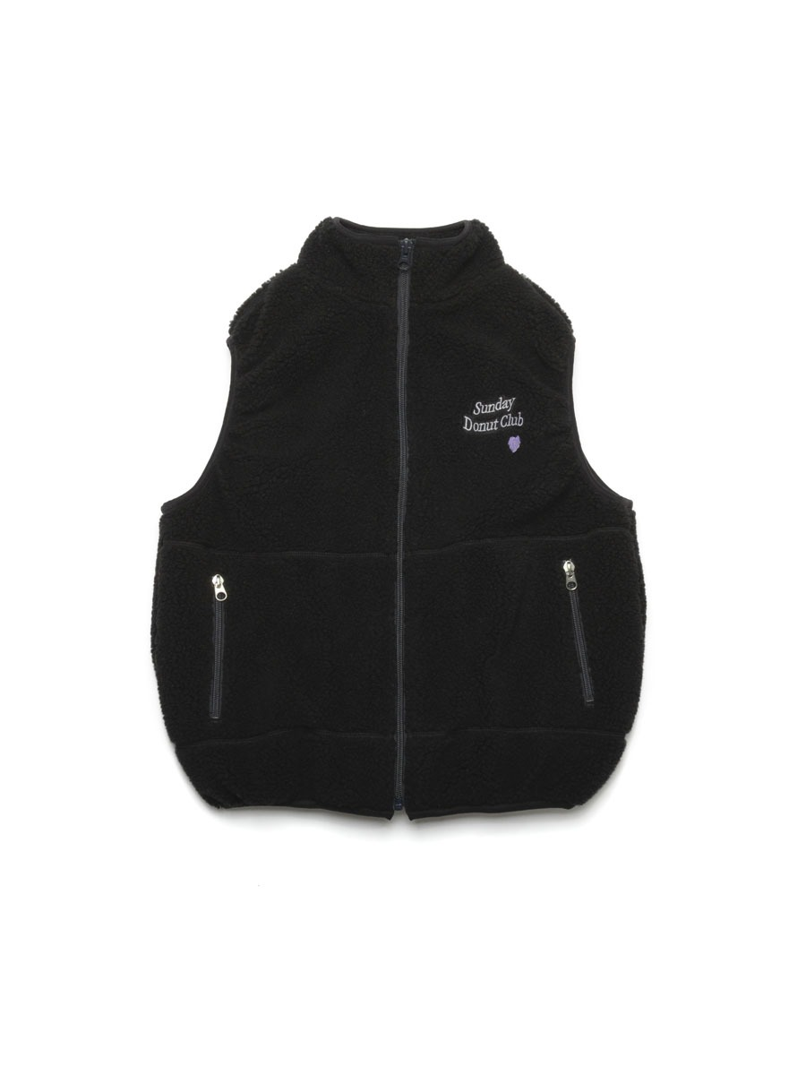 HEART LOGO BOA FLEECE VEST [Black]