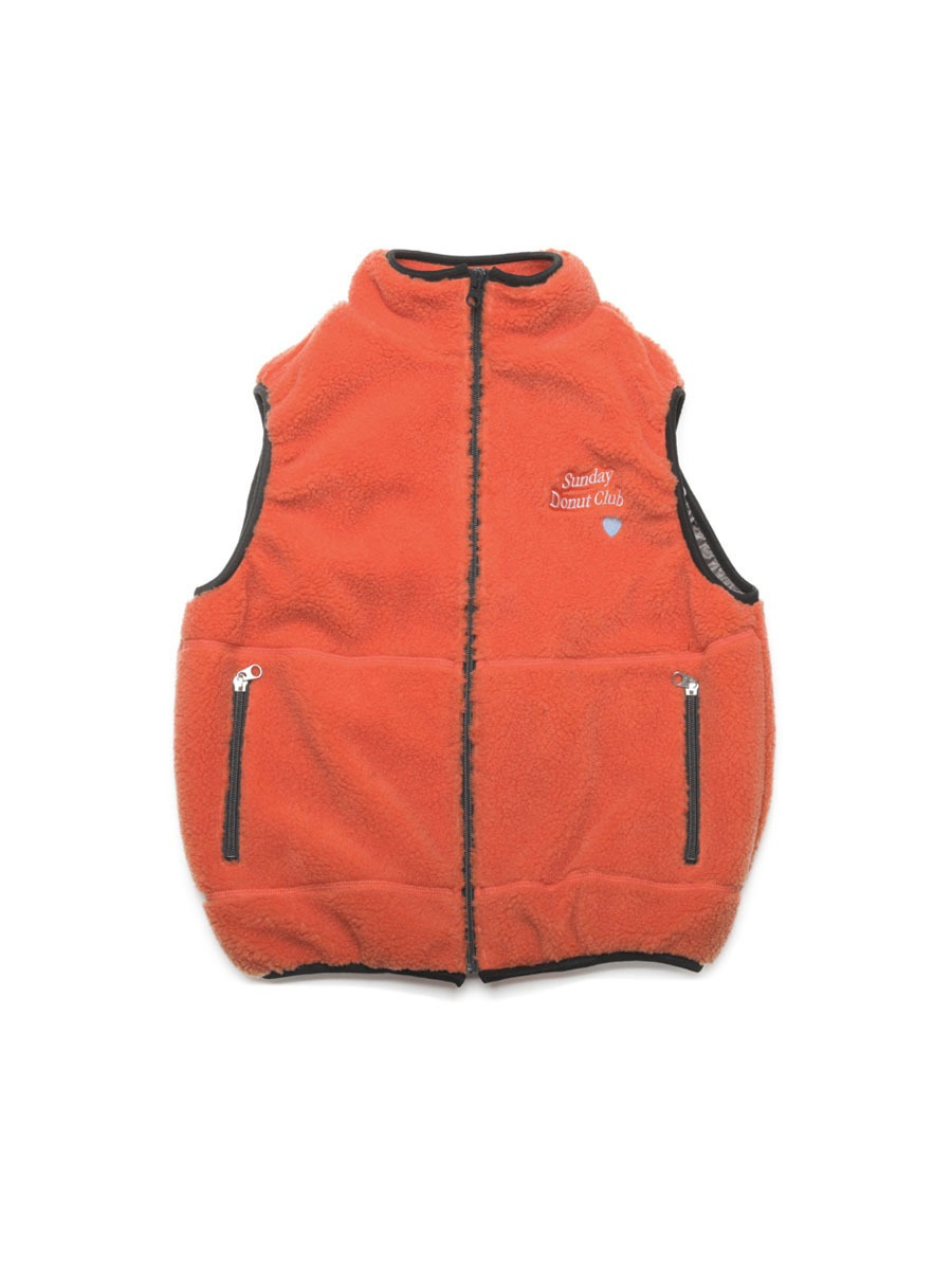 HEART LOGO BOA FLEECE VEST [Orange]