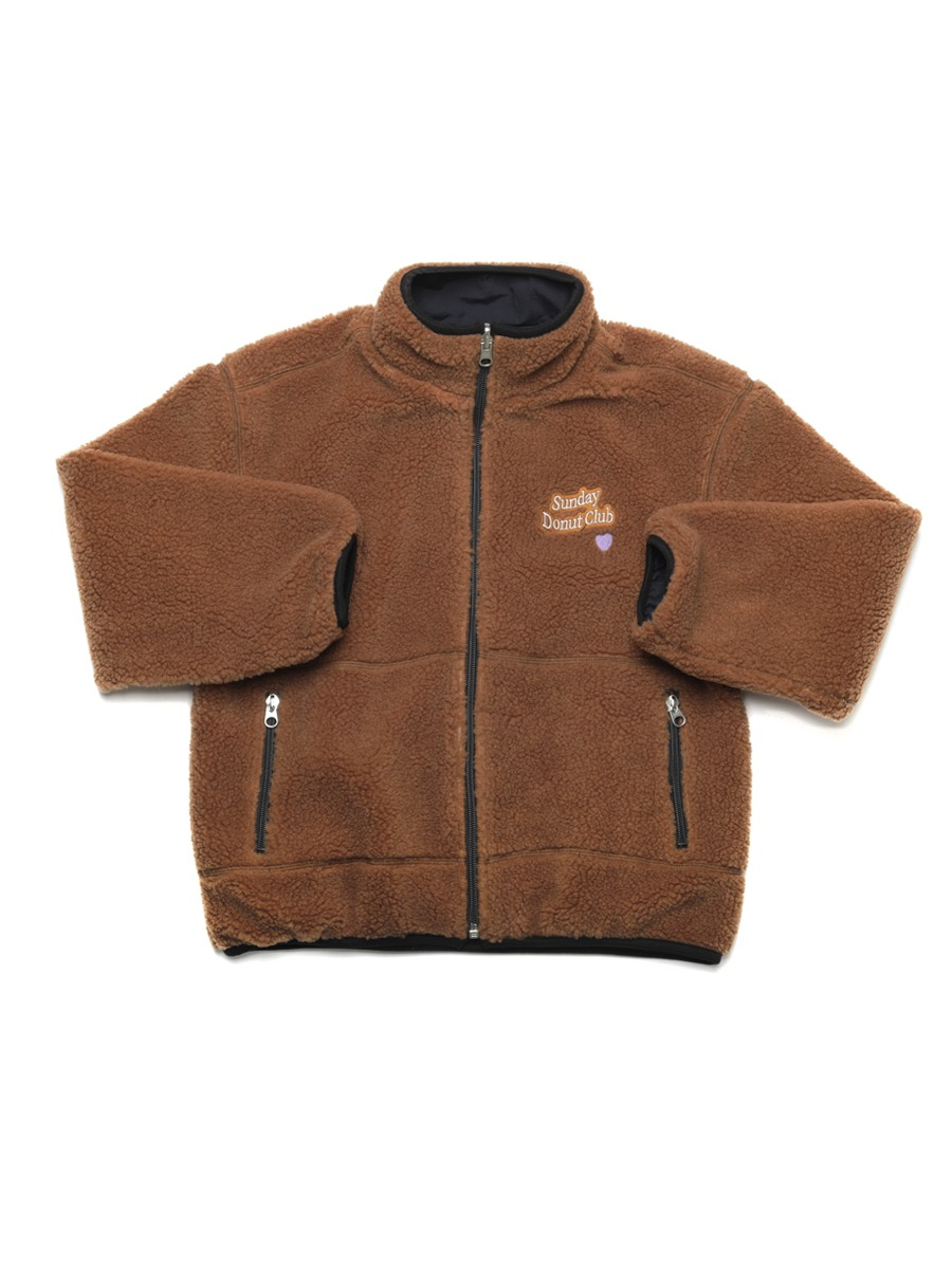 HEART LOGO BOA FLEECE REVERSIBLE JUMPER [Bear Brown/Navy]