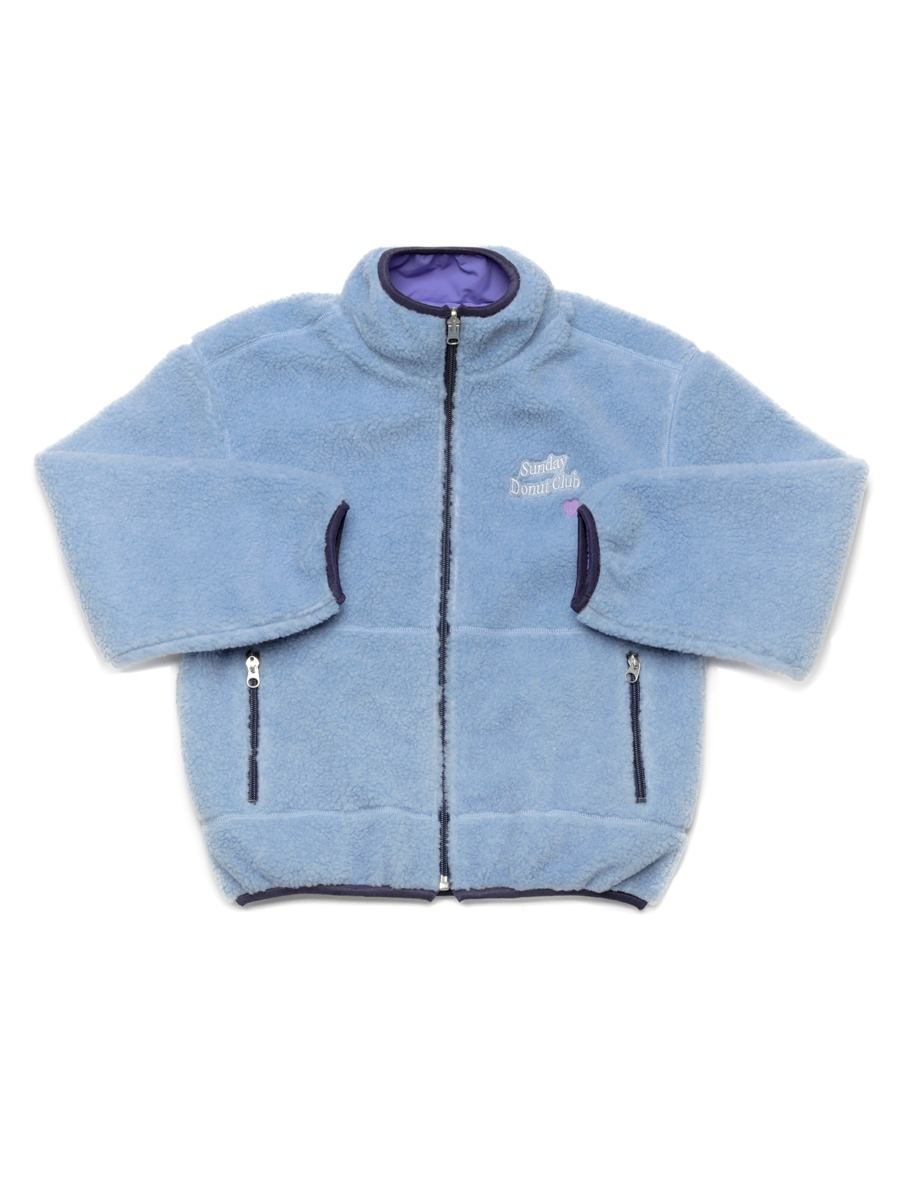 HEART LOGO BOA FLEECE REVERSIBLE JUMPER [Skyblue/Lavender]